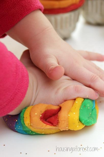 Glitter Rainbow Play Dough ~ I love this simple reduced salt recipe.