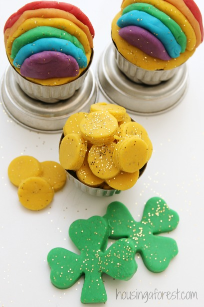 Homemade St Patricks Day playdough.  A glittery activity fit for a Leprechaun party.  I love that it's made from items in our pantry.