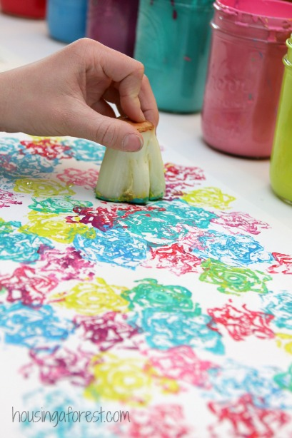 Vegetable Stamps using Romaine Lettuce