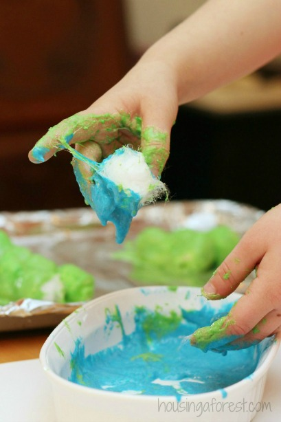 Baked Cotton Balls ~ Earth Day activities for kids