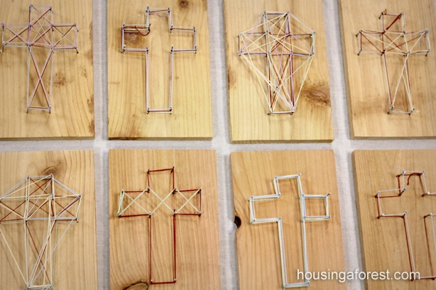 DIY Easter Cross ~ Simple string art for kids