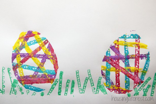 Spring art activities for kids ~ Toddler Easter Egg Crafts using recycled stamps