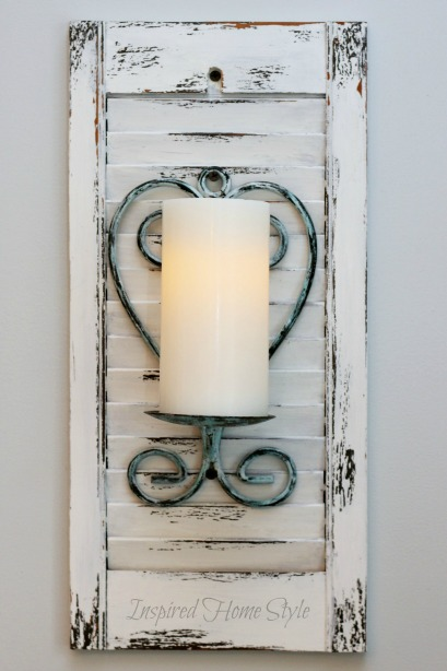 DIY Candle Sconces ~ Distressed paint finish