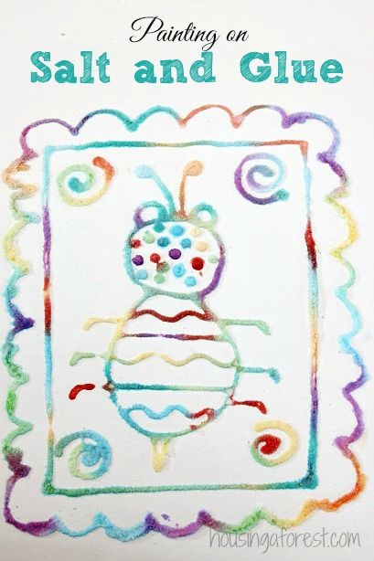 Raised Salt painting ~ simple kids art projects