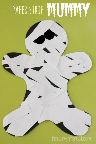 Paper Strip Mummy ~ halloween craft ideas