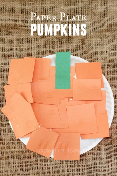 Pumpkin crafts for kids ~ simple paper plate  pumpkin