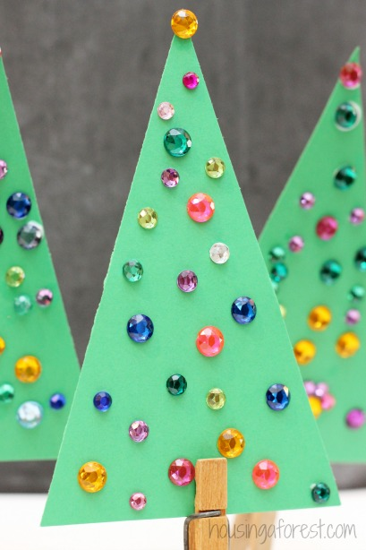 jeweled trees simple christmas tree craft for kids - Homemade Christmas Decorations For Kids