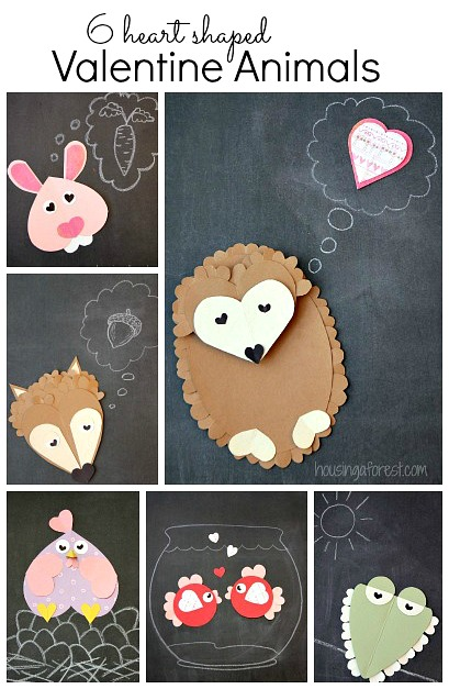 6 Heart Shaped Animals ~ Easy Valentine crafts for kids