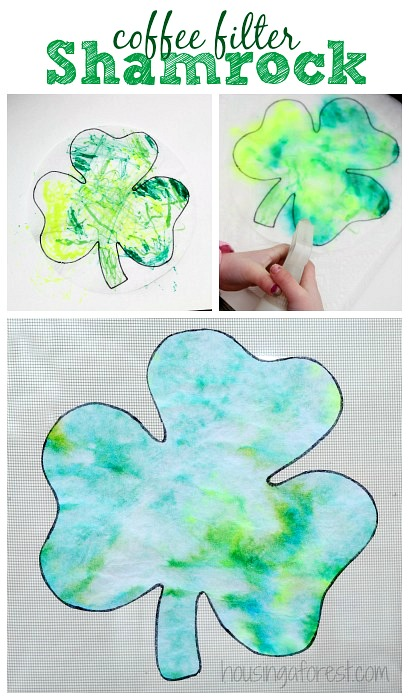 Coffee Filter Shamrock ~ St Patricks Day craft