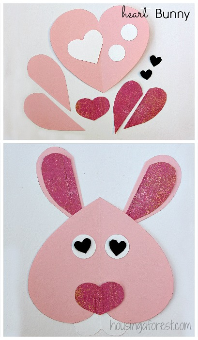 6 Heart Shaped Animals ~ Heart Shaped Bunny Valentine crafts for kids