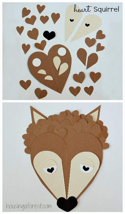 6 Heart Shaped Animals with FREE printable PDF's ~ Heart Shaped Squirrel Valentine crafts for kids