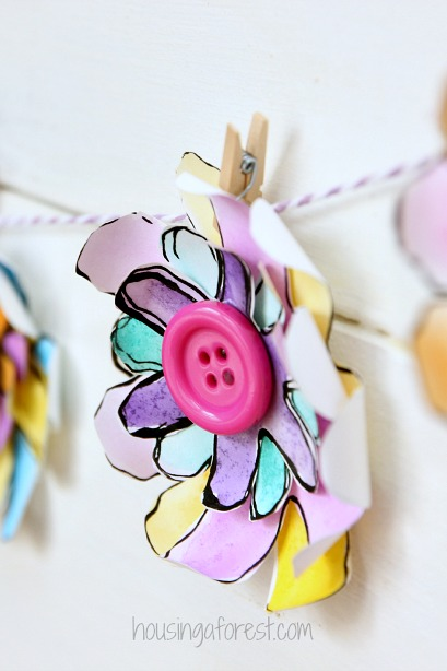 DIY  Garland created from Paper Flowers