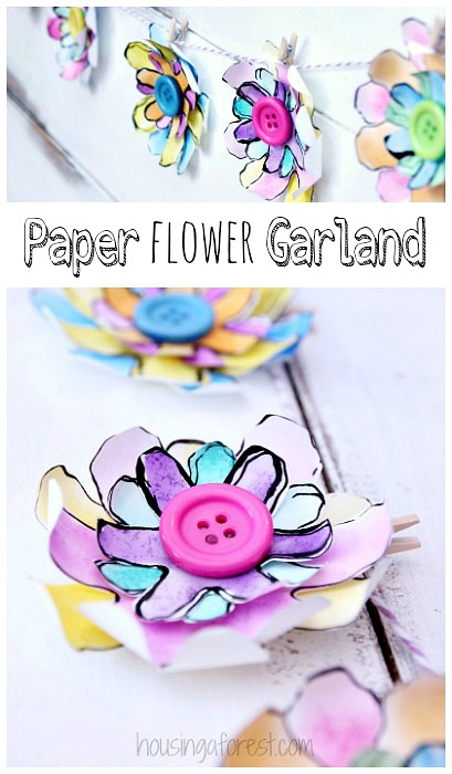 Paper flower garland housing a forest diy garland created from paper flowers mightylinksfo Choice Image