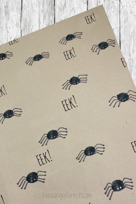 DIY Creepy Crawly spider wrapping paper, perfect for a Halloween party!