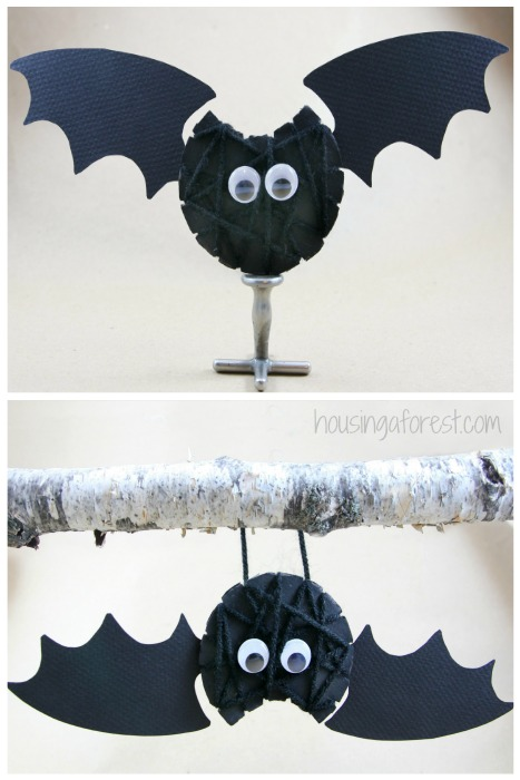 yarn wrapped bat halloween craft for kids - Halloween Bats Crafts