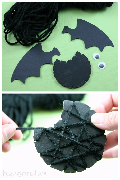 Yarn Wrapped Bat ~ Halloween Craft for kids