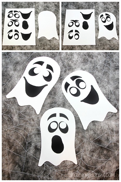 photograph about Printable Kid Crafts named Straightforward Ghost Craft for Children Housing a Forest