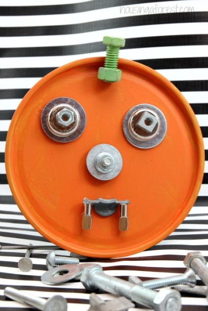 Recycled Halloween Art for kids ~ Junk Drawer Pumpkins