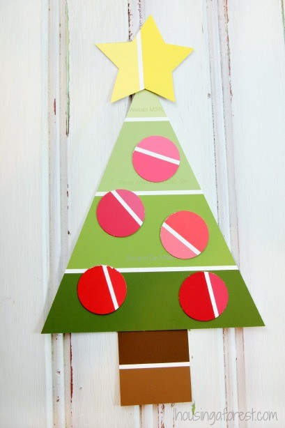 Easy Christmas Craft For Preschoolers Paint Chip Tree