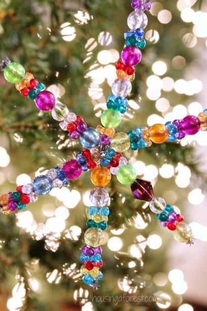 Easy Christmas Ornament Kids Can Make Beaded Snowflake