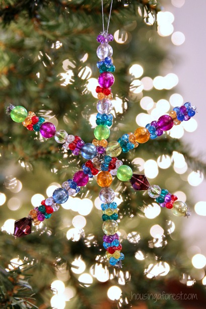 easy christmas ornament kids can make beaded snowflake ornament