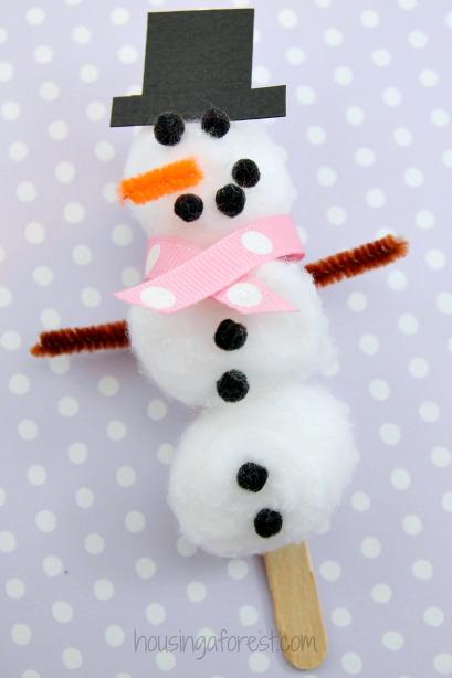 Easy Snowman Snack: Cotton Ball Snowman Craft