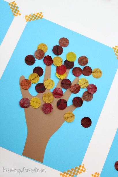 Kids Handprint Fall Tree Craft Housing A Forest