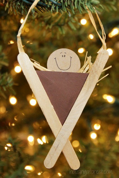 Lollipop Stick Christmas Decorations.Popsicle Stick Manger Craft Housing A Forest
