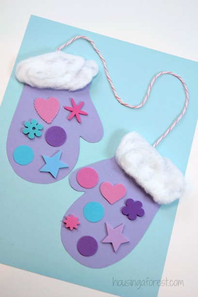 Winter mitten craft for preschoolers housing a forest for Christmas crafts for pre schoolers
