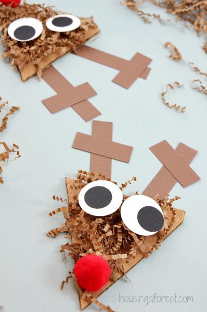 shredded paper reindeer craft