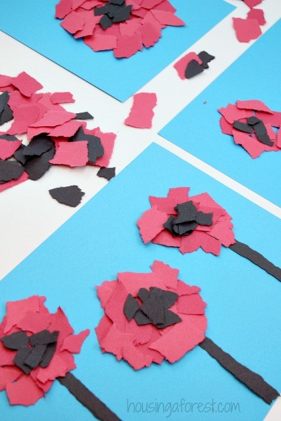 Torn poppy craft housing a forest torn flower craft veterans day or remembrance day poppy for kids mightylinksfo