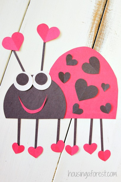 Heart Lady Bug Valentines Craft | Housing a Forest