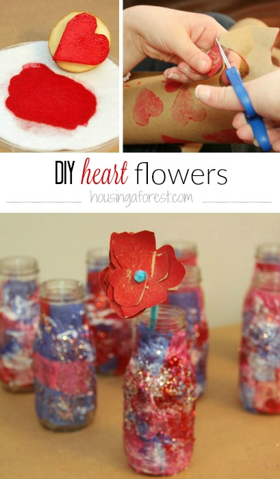 DIY Heart Potato Stamped flower - Fun Valentines Day Idea for Kids