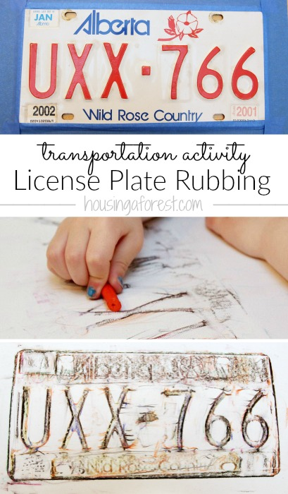 Preschool Transportation activity ~ License Plate Rubbings