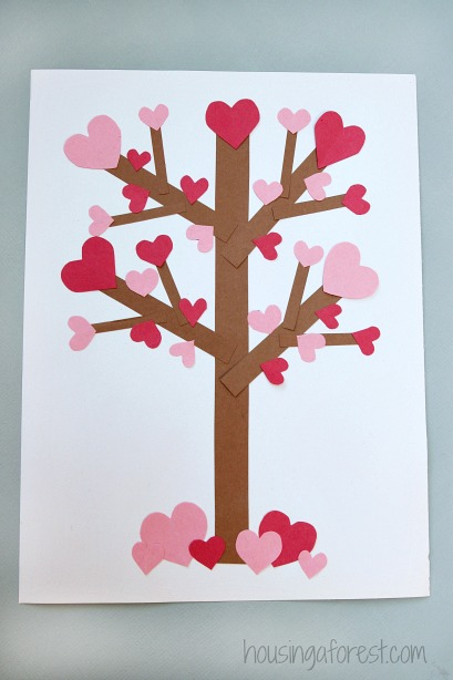 Valentine s day tree paper craft housing a forest for Valentine crafts for kindergarteners