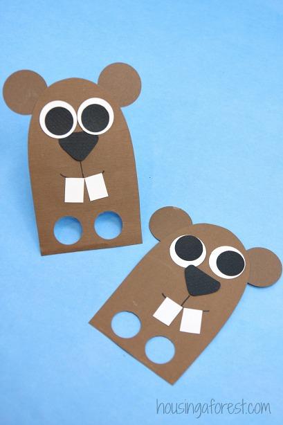 diy finger puppet groundhog day craft for kids