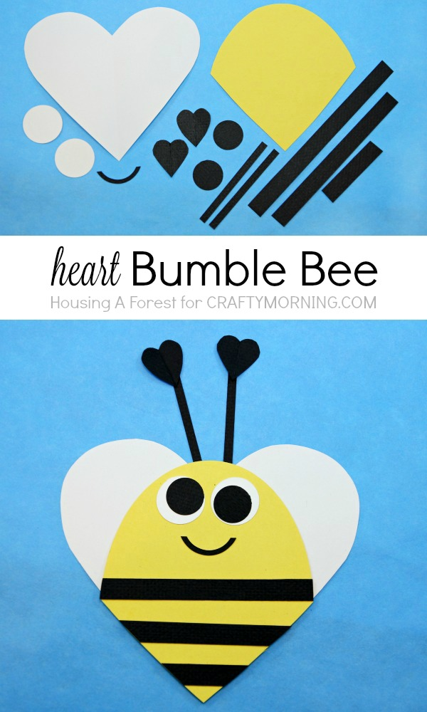 Heart Bee Valentine Day Craft for kids - Bee Mine!