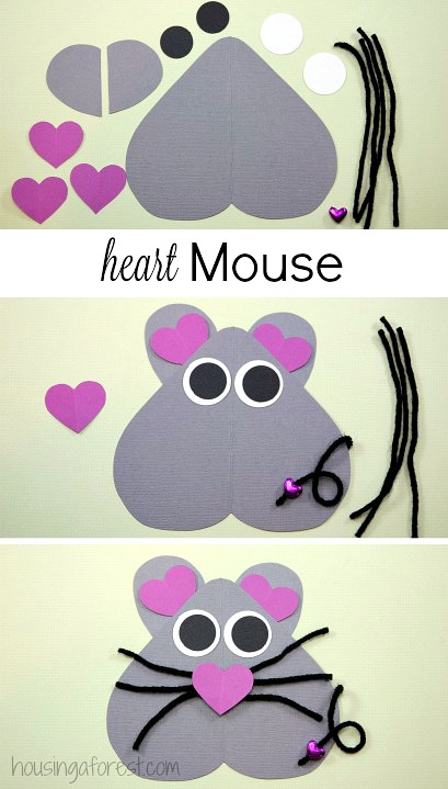 Heart Shaped Mouse ~ Valentines Day Craft for kids.