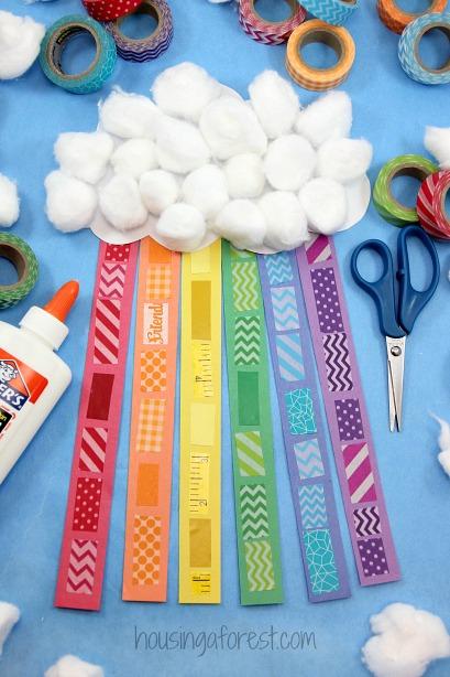 Washi Tape Rainbow Craft for Kids - St Patricks Day Craft