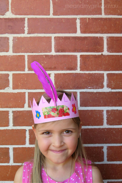 How To Make A Crown ~ Easy Kids craft using feathers and Washi Tape