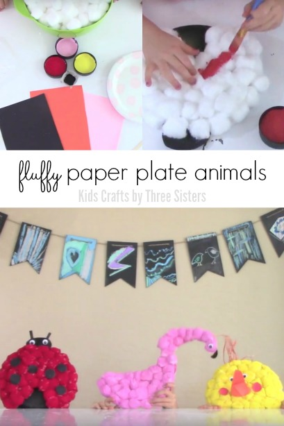 Fluffy Paper Plate Animals - Lady Bug, Flamingo and Chick Kids Craft